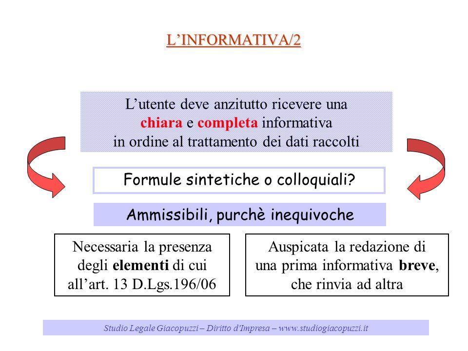 Studio Legale Giacopuzzi – Diritto d'Impresa – www.studiogiacopuzzi.it LINFORMATIVA/2 Lutente deve anzitutto ricevere una chiara e completa informativ