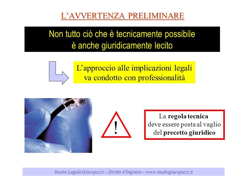 Studio Legale Giacopuzzi – Diritto d Impresa – www.studiogiacopuzzi.it LAVVERTENZA PRELIMINARE Non tutto ciò che è tecnicamente possibile è anche giuridicamente lecito Lapproccio alle implicazioni legali va condotto con professionalità .
