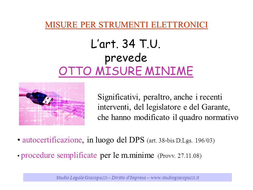 Studio Legale Giacopuzzi – Diritto d'Impresa – www.studiogiacopuzzi.it MISURE PER STRUMENTI ELETTRONICI Lart. 34 T.U. prevede OTTO MISURE MINIME Signi