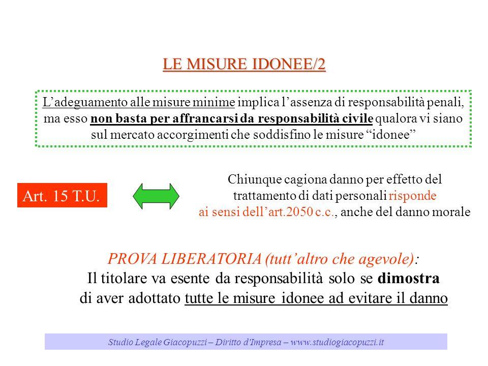 Studio Legale Giacopuzzi – Diritto d'Impresa – www.studiogiacopuzzi.it LE MISURE IDONEE/2 Ladeguamento alle misure minime implica lassenza di responsa
