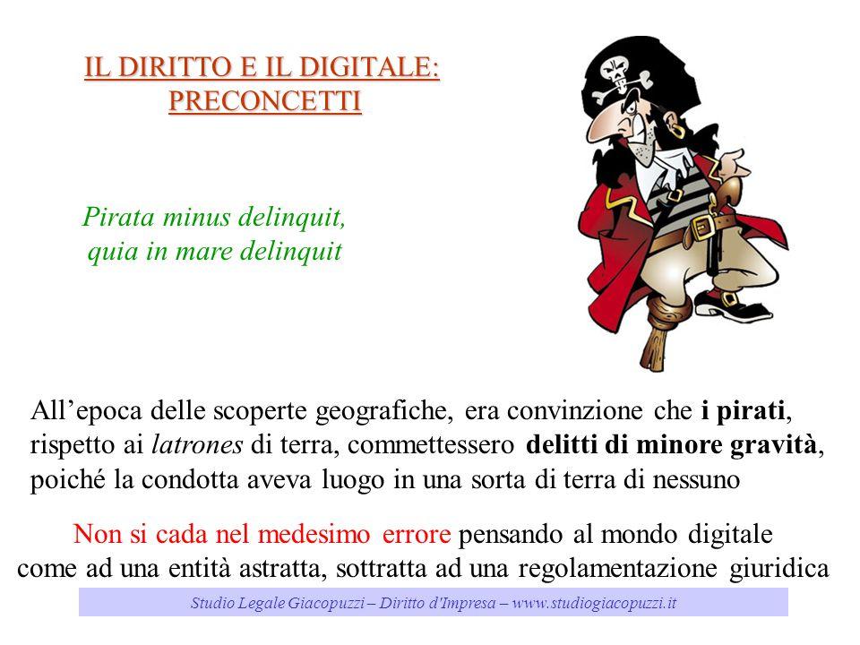 Studio Legale Giacopuzzi – Diritto d'Impresa – www.studiogiacopuzzi.it IL DIRITTO E IL DIGITALE: PRECONCETTI Pirata minus delinquit, quia in mare deli