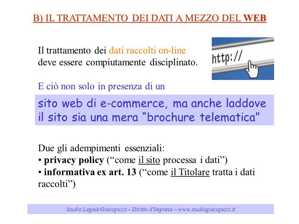 Studio Legale Giacopuzzi – Diritto d Impresa – www.studiogiacopuzzi.it B) IL TRATTAMENTO DEI DATI A MEZZO DEL WEB Il trattamento dei dati raccolti on-line deve essere compiutamente disciplinato.
