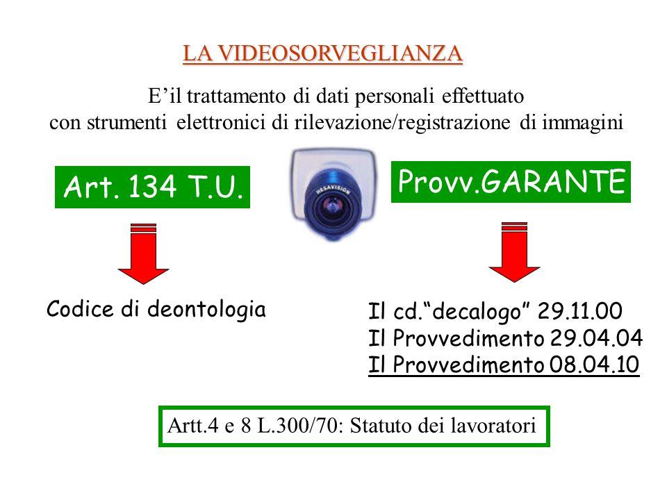 LA VIDEOSORVEGLIANZA Art. 134 T.U. Provv.GARANTE Artt.4 e 8 L.300/70: Statuto dei lavoratori Codice di deontologia Il cd.decalogo 29.11.00 Il Provvedi