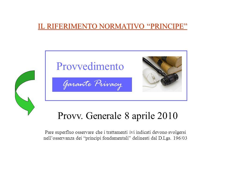 IL RIFERIMENTO NORMATIVO PRINCIPE Provvedimento Garante Privacy Provv. Generale 8 aprile 2010 Pare superfluo osservare che i trattamenti ivi indicati