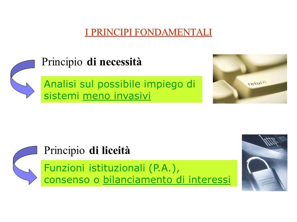 I PRINCIPI FONDAMENTALI Principio di necessità Analisi sul possibile impiego di sistemi meno invasivi Funzioni istituzionali (P.A.), consenso o bilanciamento di interessi Principio di liceità