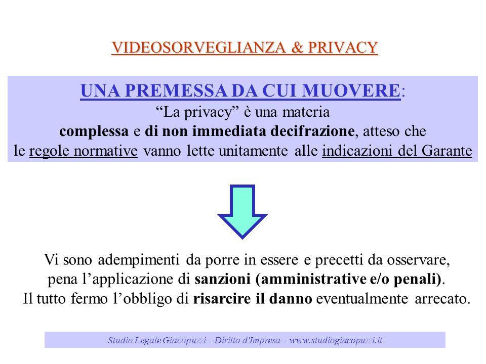 Studio Legale Giacopuzzi – Diritto d'Impresa – www.studiogiacopuzzi.it VIDEOSORVEGLIANZA & PRIVACY UNA PREMESSA DA CUI MUOVERE: La privacy è una mater