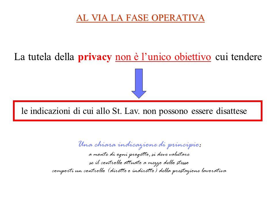 AL VIA LA FASE OPERATIVA La tutela della privacy non è lunico obiettivo cui tendere le indicazioni di cui allo St. Lav. non possono essere disattese U
