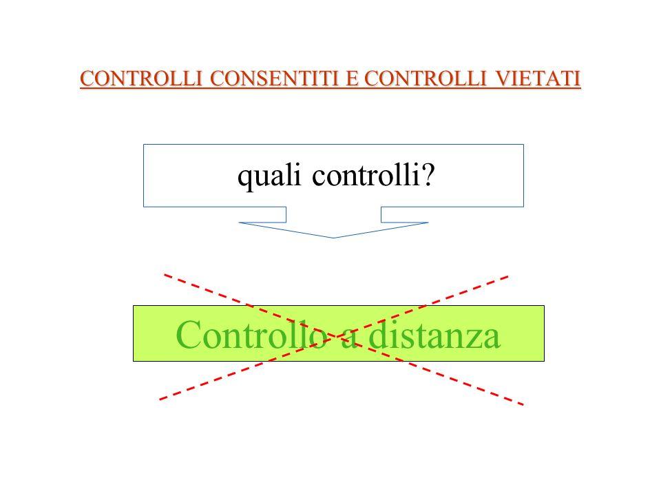 CONTROLLI CONSENTITI E CONTROLLI VIETATI Controllo a distanza quali controlli?
