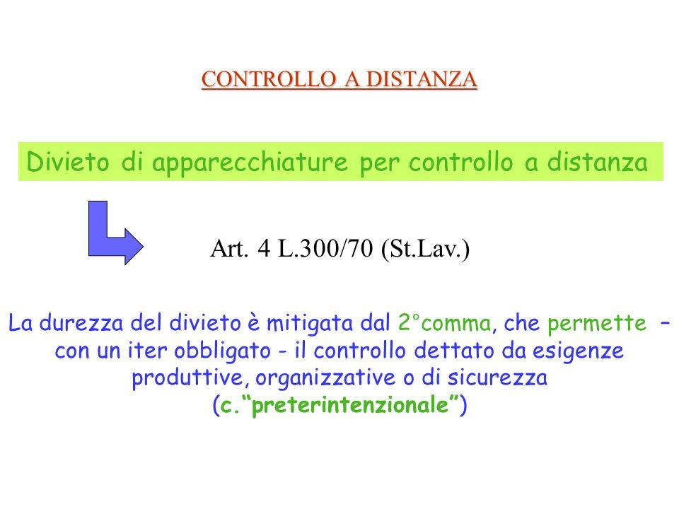 CONTROLLO A DISTANZA Divieto di apparecchiature per controllo a distanza Art. 4 L.300/70 (St.Lav.) La durezza del divieto è mitigata dal 2°comma, che