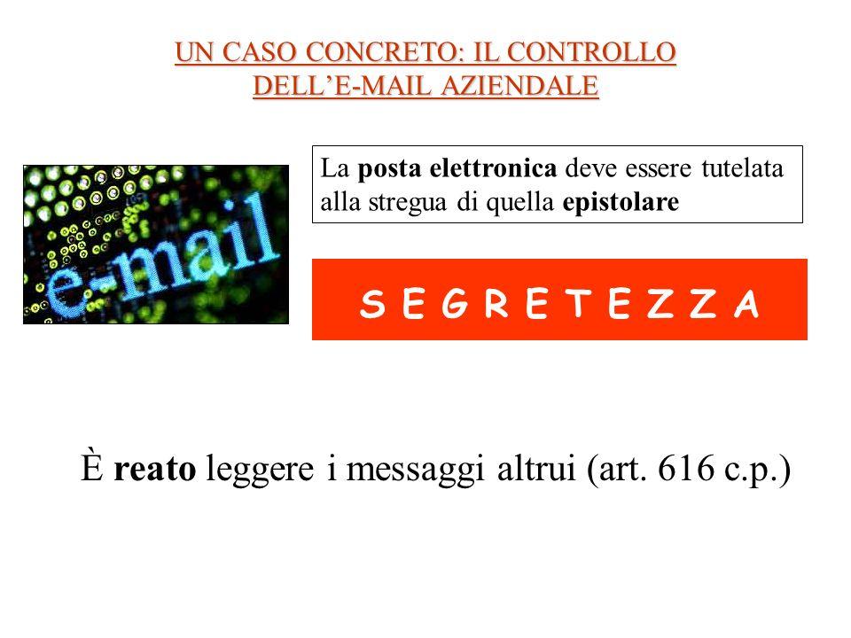 UN CASO CONCRETO: IL CONTROLLO DELLE-MAIL AZIENDALE La posta elettronica deve essere tutelata alla stregua di quella epistolare S E G R E T E Z Z A È