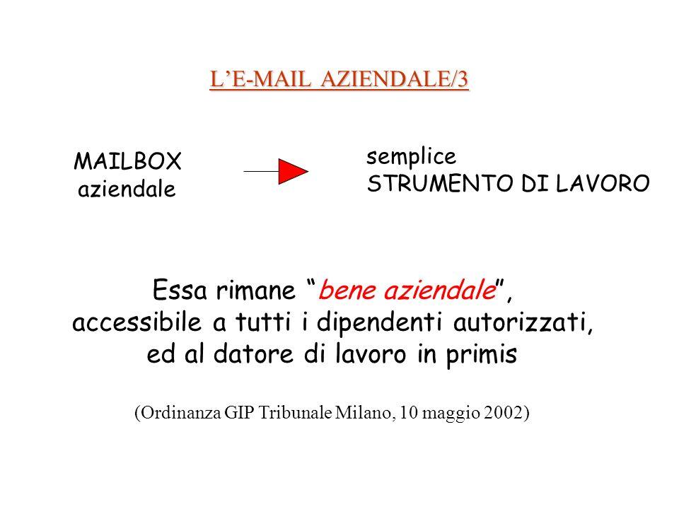 LE-MAIL AZIENDALE/3 MAILBOX aziendale semplice STRUMENTO DI LAVORO Essa rimane bene aziendale, accessibile a tutti i dipendenti autorizzati, ed al datore di lavoro in primis (Ordinanza GIP Tribunale Milano, 10 maggio 2002)