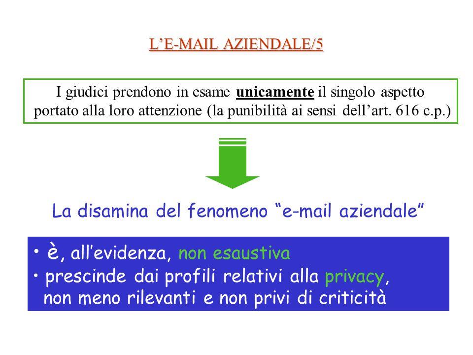 LE-MAIL AZIENDALE/5 I giudici prendono in esame unicamente il singolo aspetto portato alla loro attenzione (la punibilità ai sensi dellart.