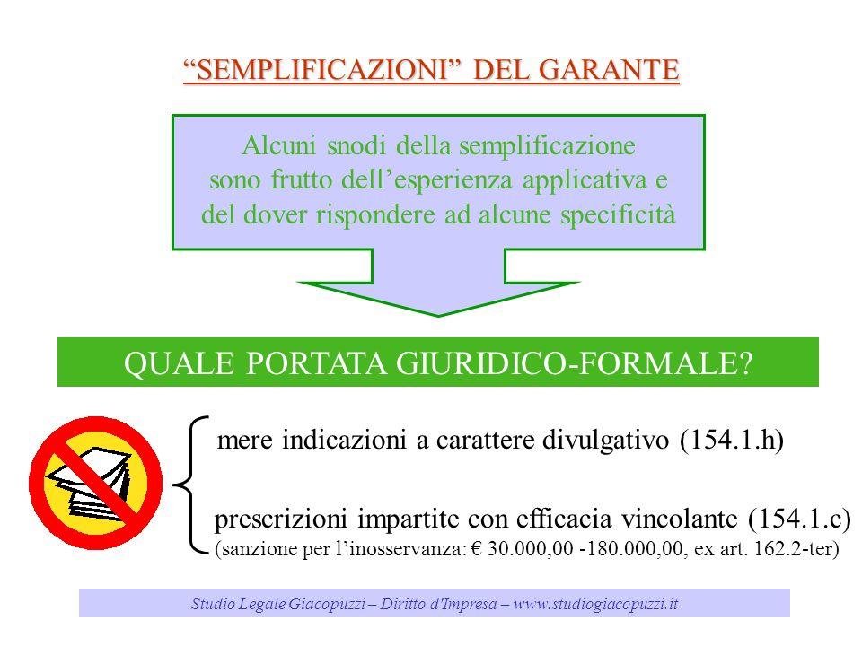 Studio Legale Giacopuzzi – Diritto d'Impresa – www.studiogiacopuzzi.it SEMPLIFICAZIONI DEL GARANTE Alcuni snodi della semplificazione sono frutto dell