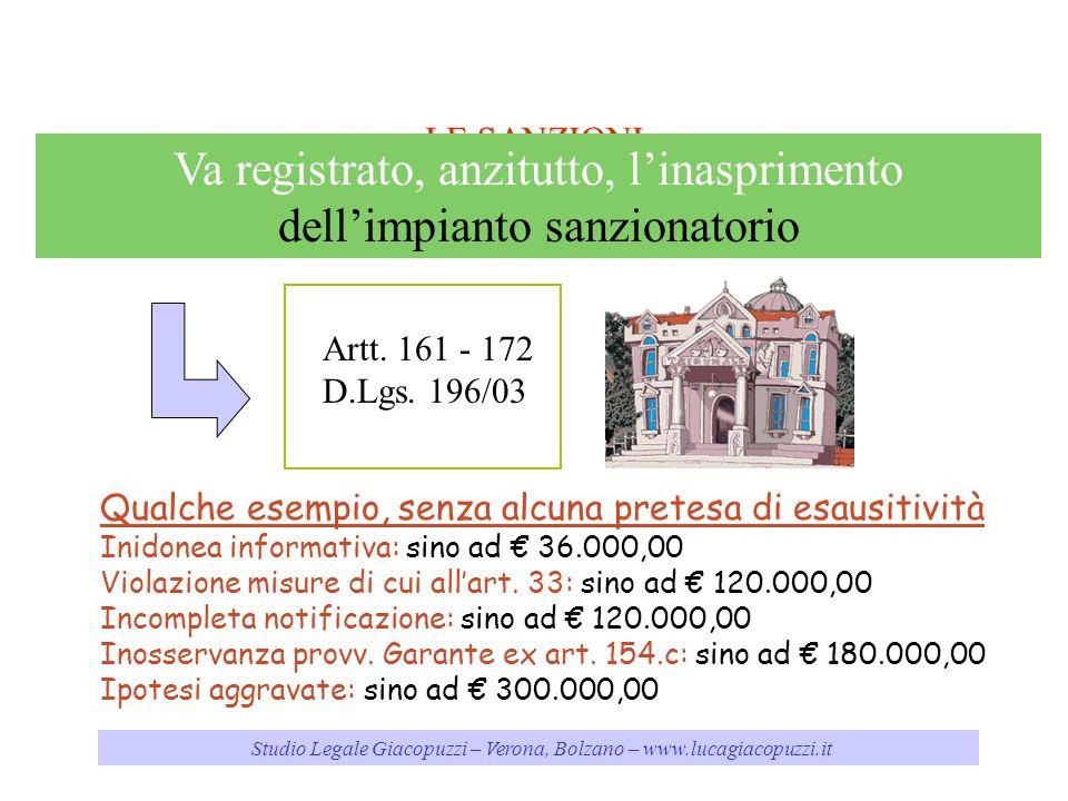 Studio Legale Giacopuzzi – Verona, Bolzano – www.lucagiacopuzzi.it LE SANZIONI Va registrato, anzitutto, linasprimento dellimpianto sanzionatorio Qual