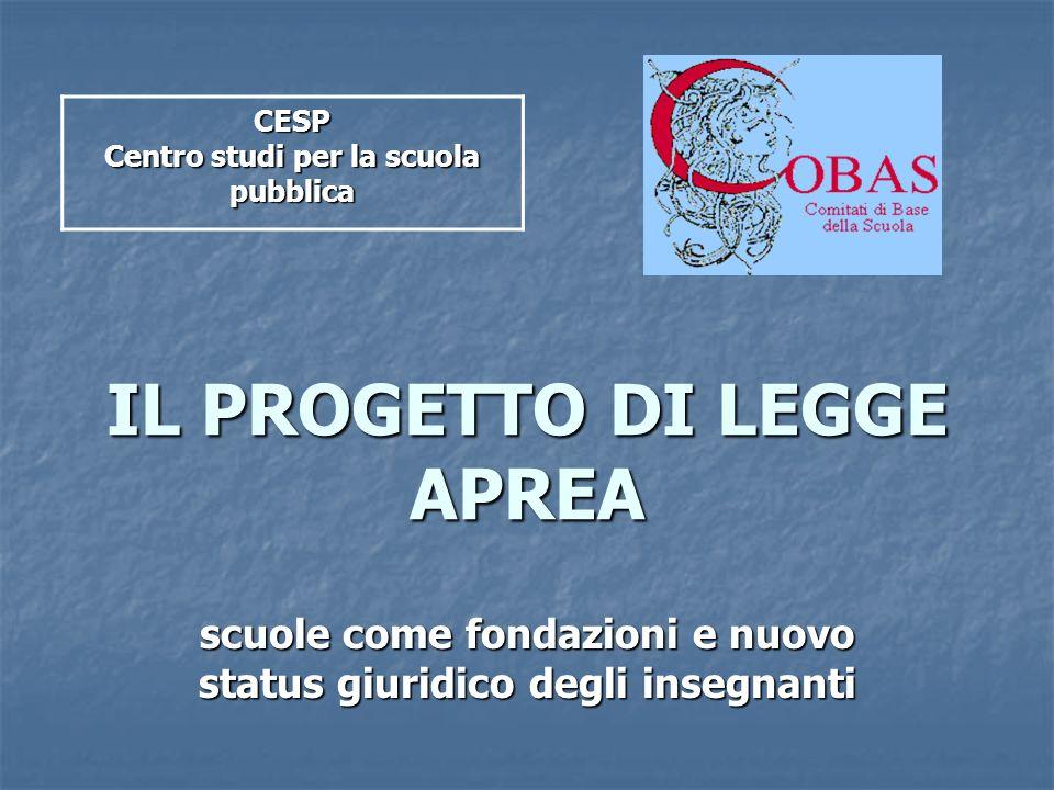 IL PROGETTO DI LEGGE APREA scuole come fondazioni e nuovo status giuridico degli insegnanti CESP Centro studi per la scuola pubblica