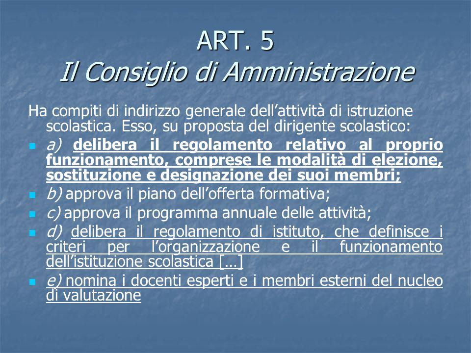 ART. 5 Il Consiglio di Amministrazione Ha compiti di indirizzo generale dellattività di istruzione scolastica. Esso, su proposta del dirigente scolast