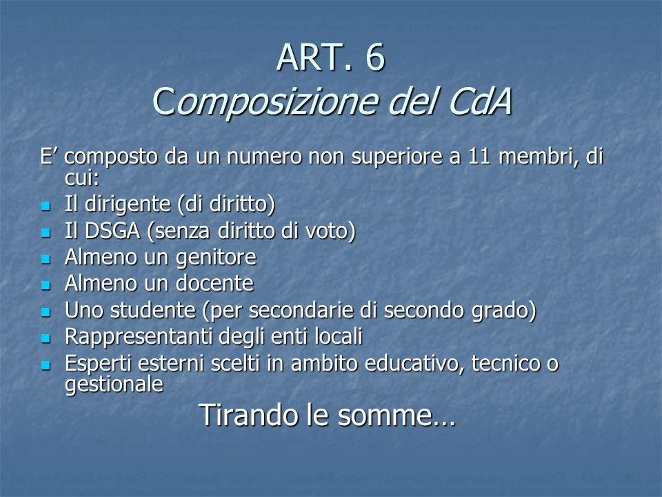 ART. 6 Composizione del CdA E composto da un numero non superiore a 11 membri, di cui: Il dirigente (di diritto) Il dirigente (di diritto) Il DSGA (se