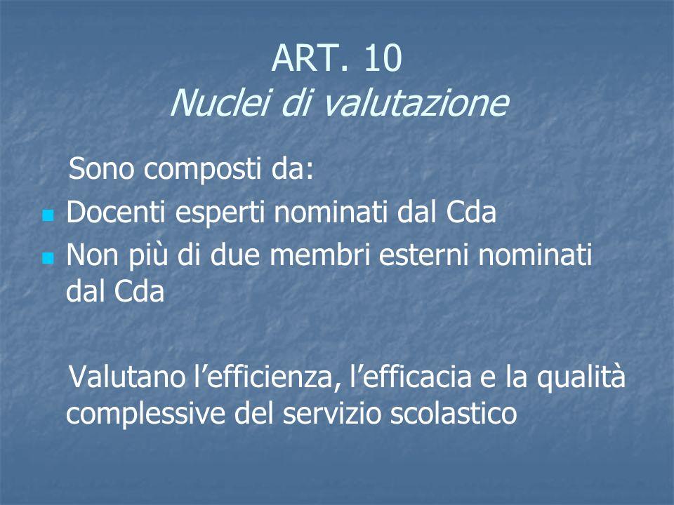 ART. 10 Nuclei di valutazione Sono composti da: Docenti esperti nominati dal Cda Non più di due membri esterni nominati dal Cda Valutano lefficienza,