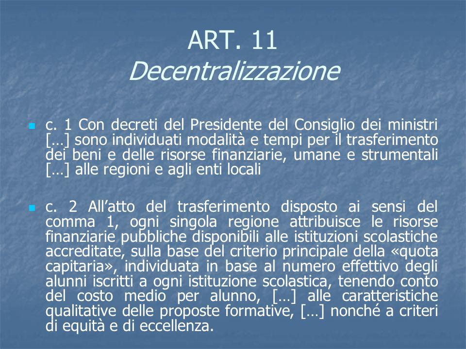 ART. 11 Decentralizzazione c. 1 Con decreti del Presidente del Consiglio dei ministri […] sono individuati modalità e tempi per il trasferimento dei b