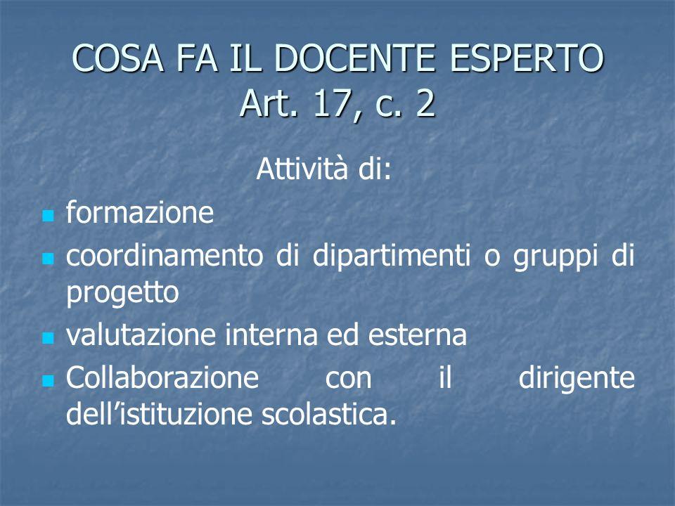 COSA FA IL DOCENTE ESPERTO Art. 17, c. 2 Attività di: formazione coordinamento di dipartimenti o gruppi di progetto valutazione interna ed esterna Col