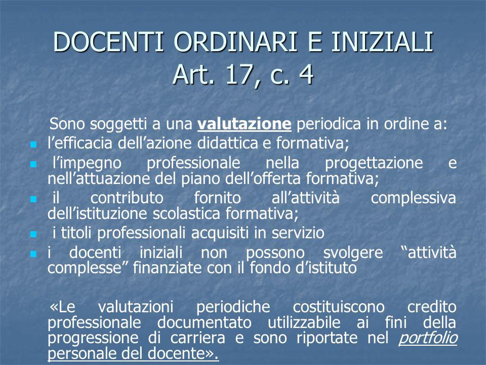DOCENTI ORDINARI E INIZIALI Art. 17, c. 4 Sono soggetti a una valutazione periodica in ordine a: lefficacia dellazione didattica e formativa; limpegno