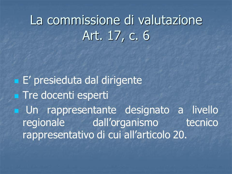 La commissione di valutazione Art. 17, c. 6 E presieduta dal dirigente Tre docenti esperti Un rappresentante designato a livello regionale dallorganis