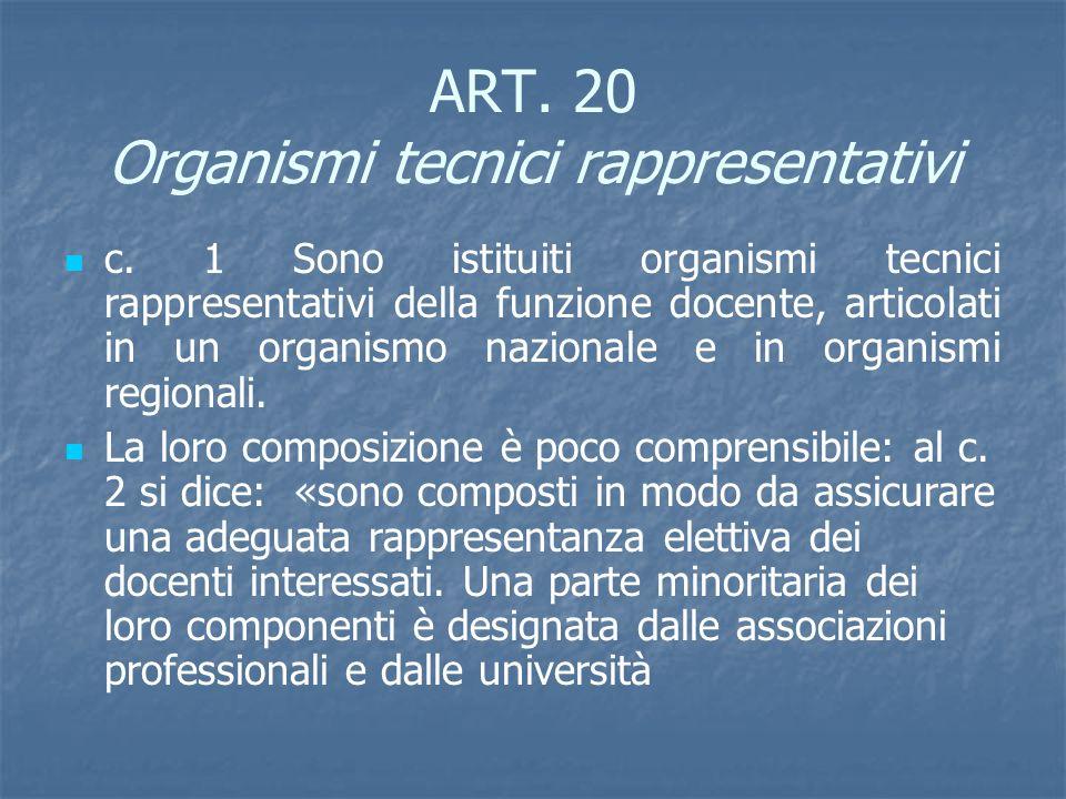 ART. 20 Organismi tecnici rappresentativi c. 1 Sono istituiti organismi tecnici rappresentativi della funzione docente, articolati in un organismo naz