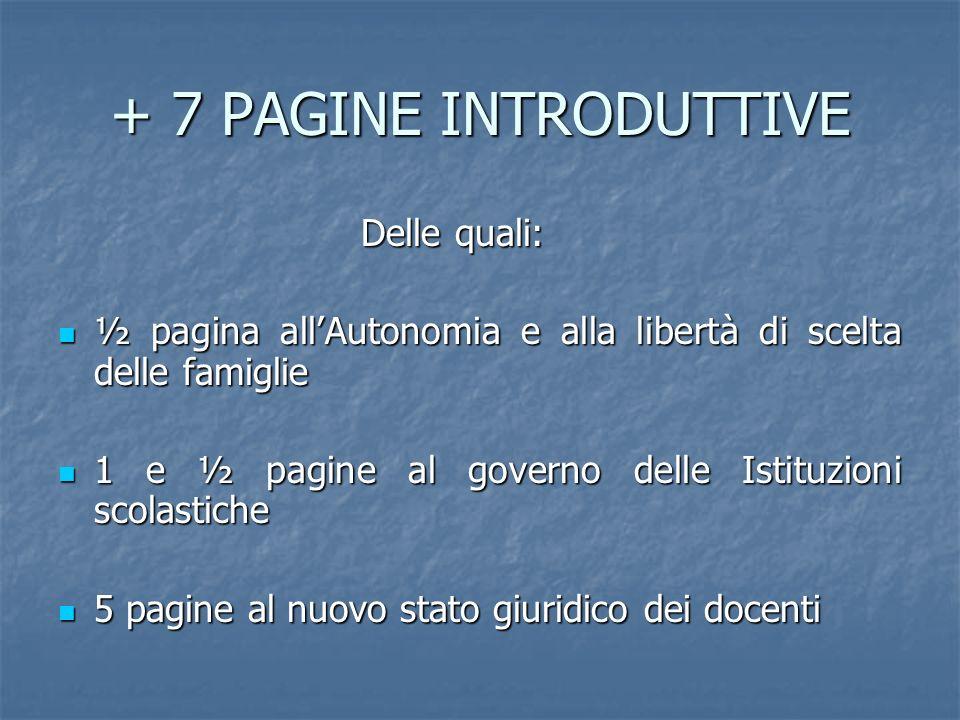 + 7 PAGINE INTRODUTTIVE Delle quali: Delle quali: ½ pagina allAutonomia e alla libertà di scelta delle famiglie ½ pagina allAutonomia e alla libertà d