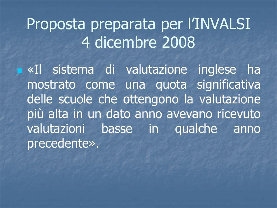 Proposta preparata per lINVALSI 4 dicembre 2008 «Il sistema di valutazione inglese ha mostrato come una quota significativa delle scuole che ottengono