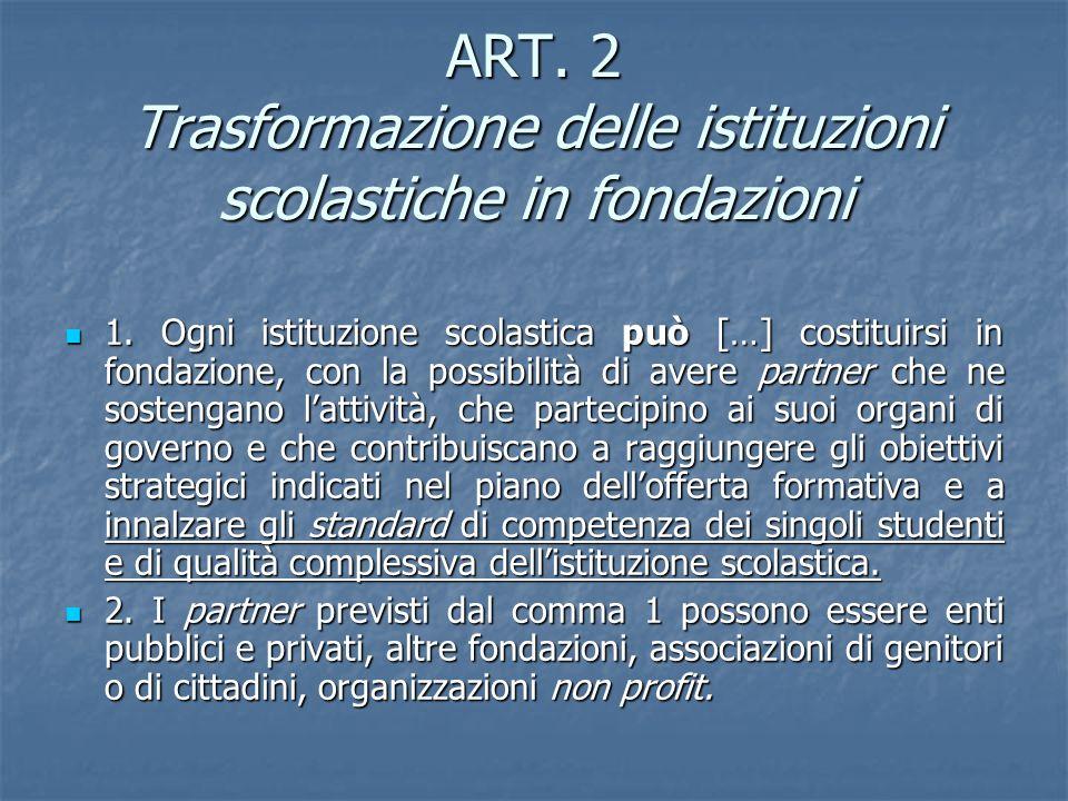 ART. 2 Trasformazione delle istituzioni scolastiche in fondazioni 1. Ogni istituzione scolastica può […] costituirsi in fondazione, con la possibilità