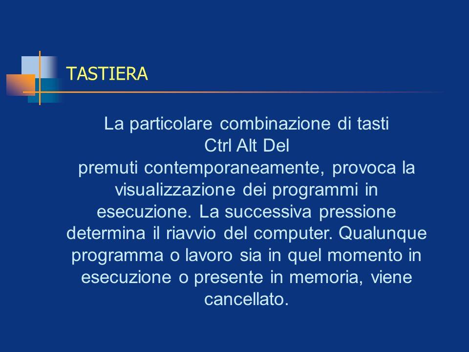 TASTIERA La particolare combinazione di tasti Ctrl Alt Del premuti contemporaneamente, provoca la visualizzazione dei programmi in esecuzione. La succ