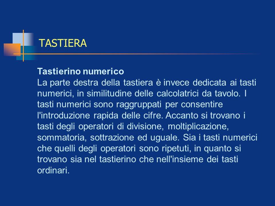 TASTIERA Tastierino numerico La parte destra della tastiera è invece dedicata ai tasti numerici, in similitudine delle calcolatrici da tavolo. I tasti