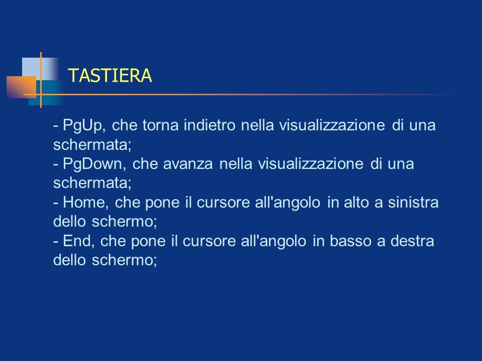 TASTIERA - PgUp, che torna indietro nella visualizzazione di una schermata; - PgDown, che avanza nella visualizzazione di una schermata; - Home, che p