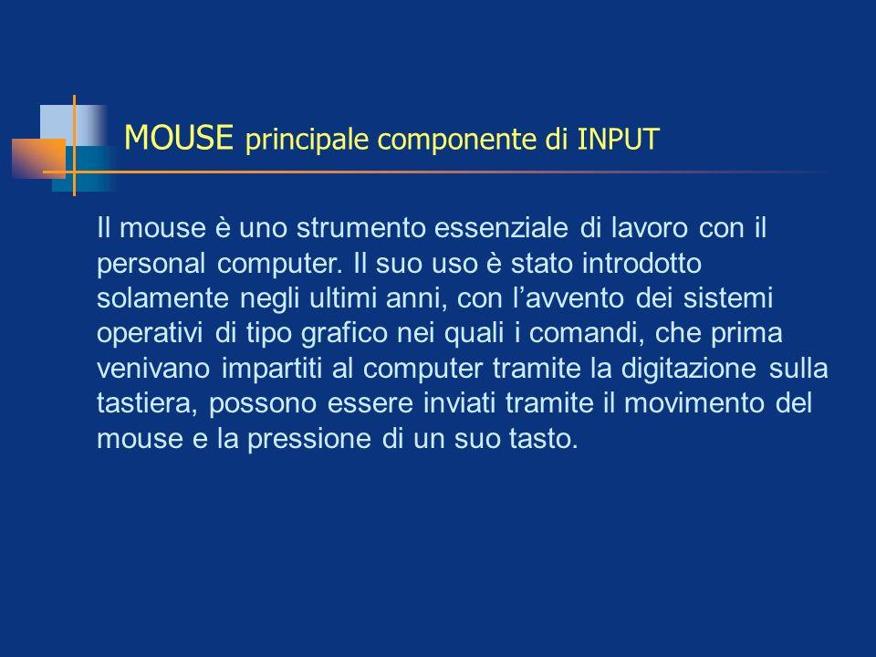 MOUSE principale componente di INPUT Il mouse è uno strumento essenziale di lavoro con il personal computer. Il suo uso è stato introdotto solamente n
