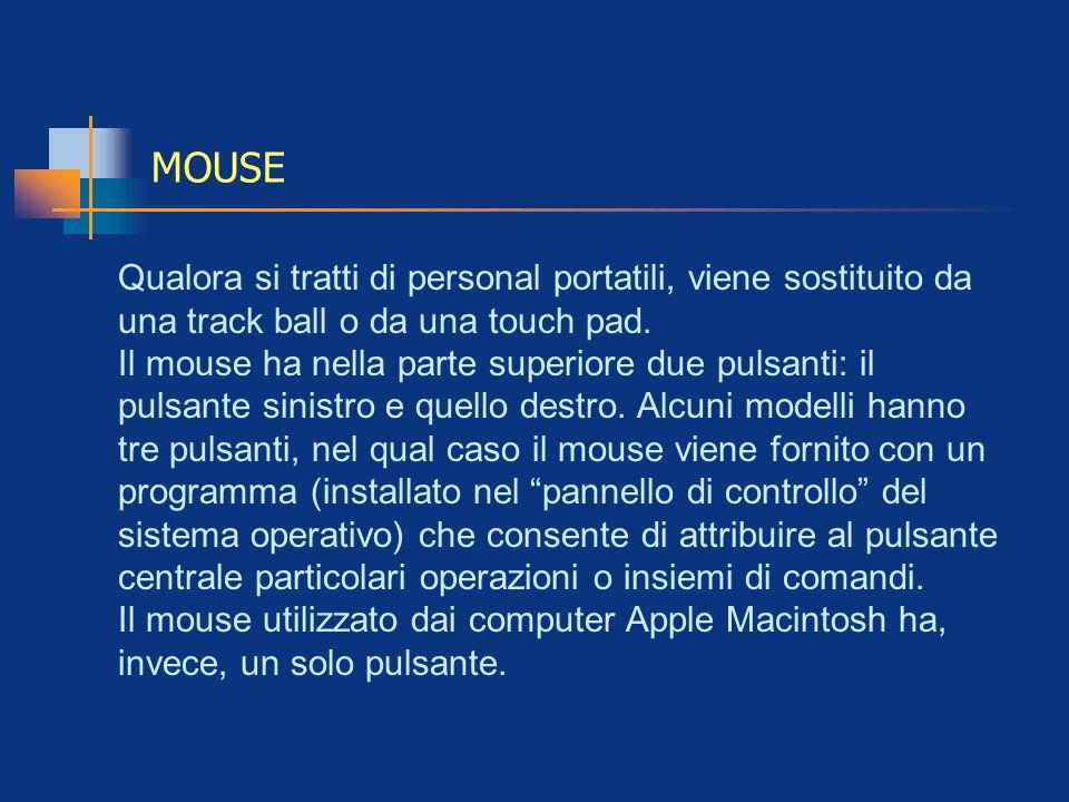 MOUSE Qualora si tratti di personal portatili, viene sostituito da una track ball o da una touch pad. Il mouse ha nella parte superiore due pulsanti: