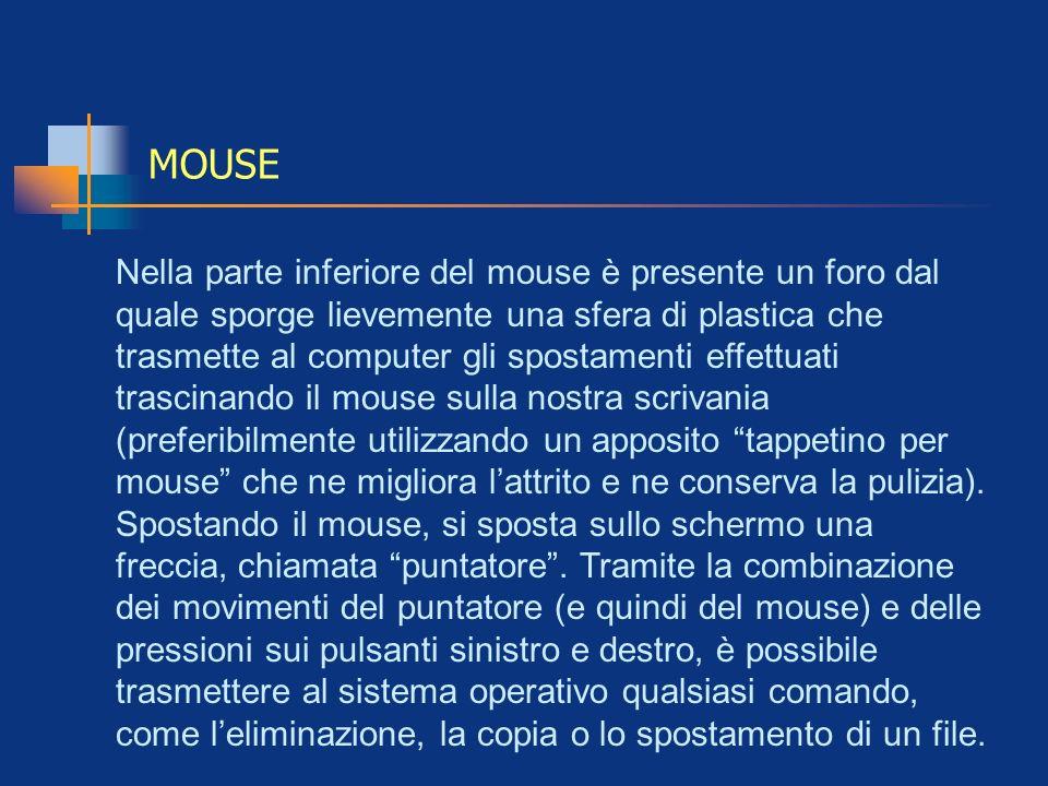 MOUSE Nella parte inferiore del mouse è presente un foro dal quale sporge lievemente una sfera di plastica che trasmette al computer gli spostamenti e