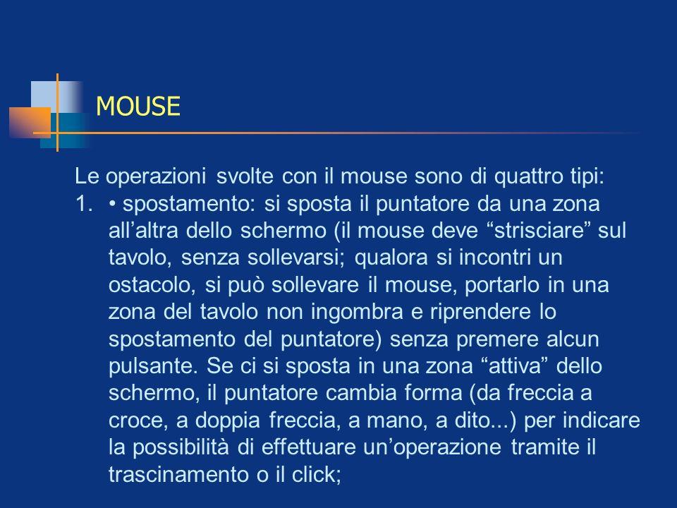MOUSE Le operazioni svolte con il mouse sono di quattro tipi: 1. spostamento: si sposta il puntatore da una zona allaltra dello schermo (il mouse deve