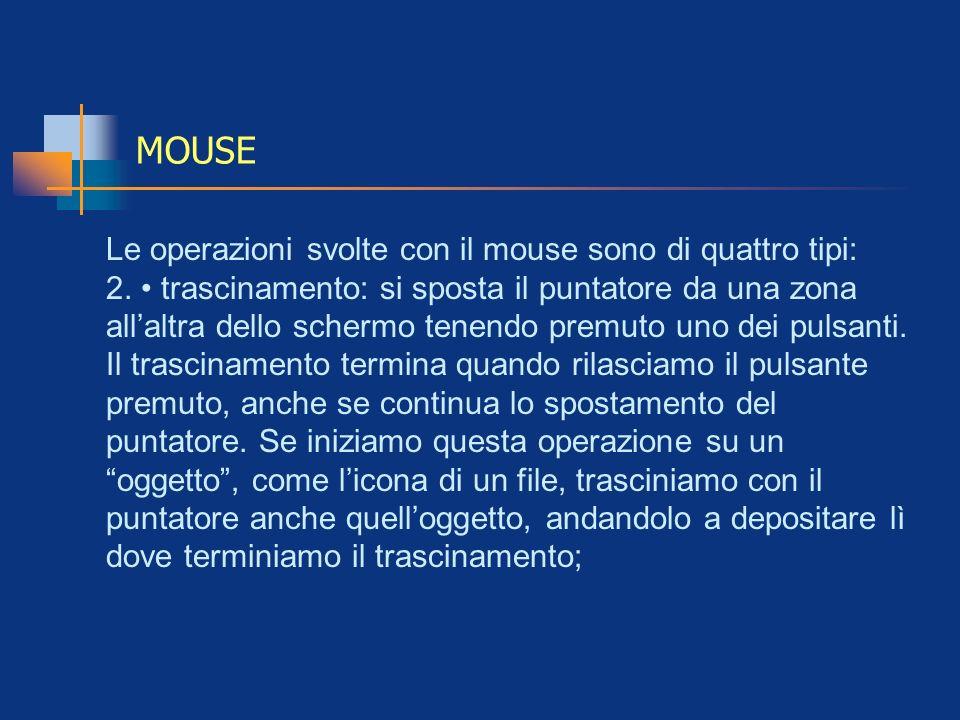 MOUSE Le operazioni svolte con il mouse sono di quattro tipi: 2. trascinamento: si sposta il puntatore da una zona allaltra dello schermo tenendo prem