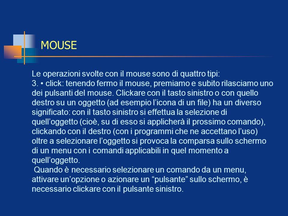 MOUSE Le operazioni svolte con il mouse sono di quattro tipi: 3. click: tenendo fermo il mouse, premiamo e subito rilasciamo uno dei pulsanti del mous