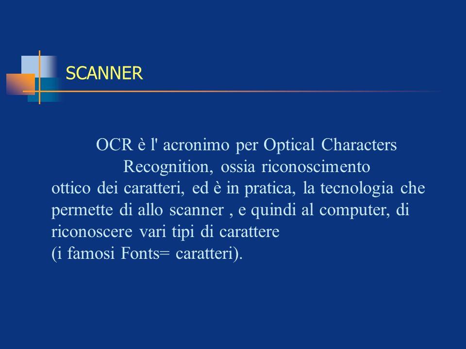 SCANNER OCR è l' acronimo per Optical Characters Recognition, ossia riconoscimento ottico dei caratteri, ed è in pratica, la tecnologia che permette d
