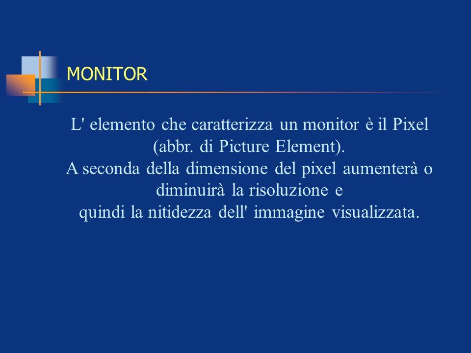 MONITOR L' elemento che caratterizza un monitor è il Pixel (abbr. di Picture Element). A seconda della dimensione del pixel aumenterà o diminuirà la r