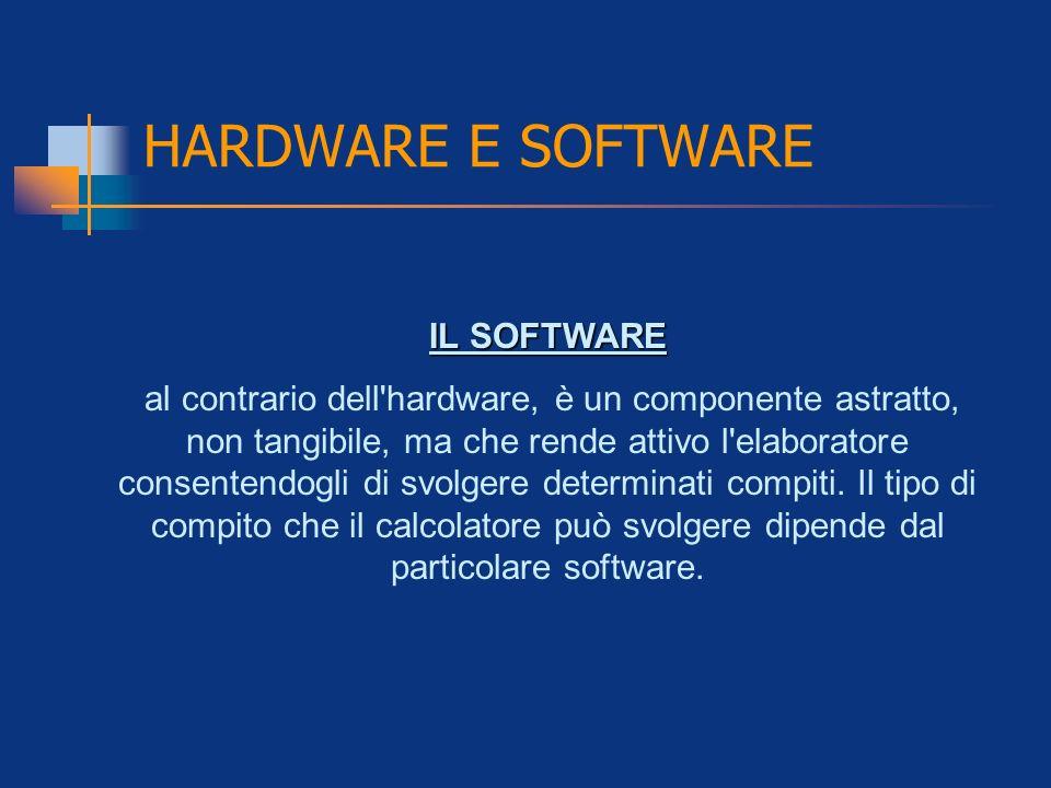 HARDWARE E SOFTWARE IL SOFTWARE al contrario dell'hardware, è un componente astratto, non tangibile, ma che rende attivo l'elaboratore consentendogli