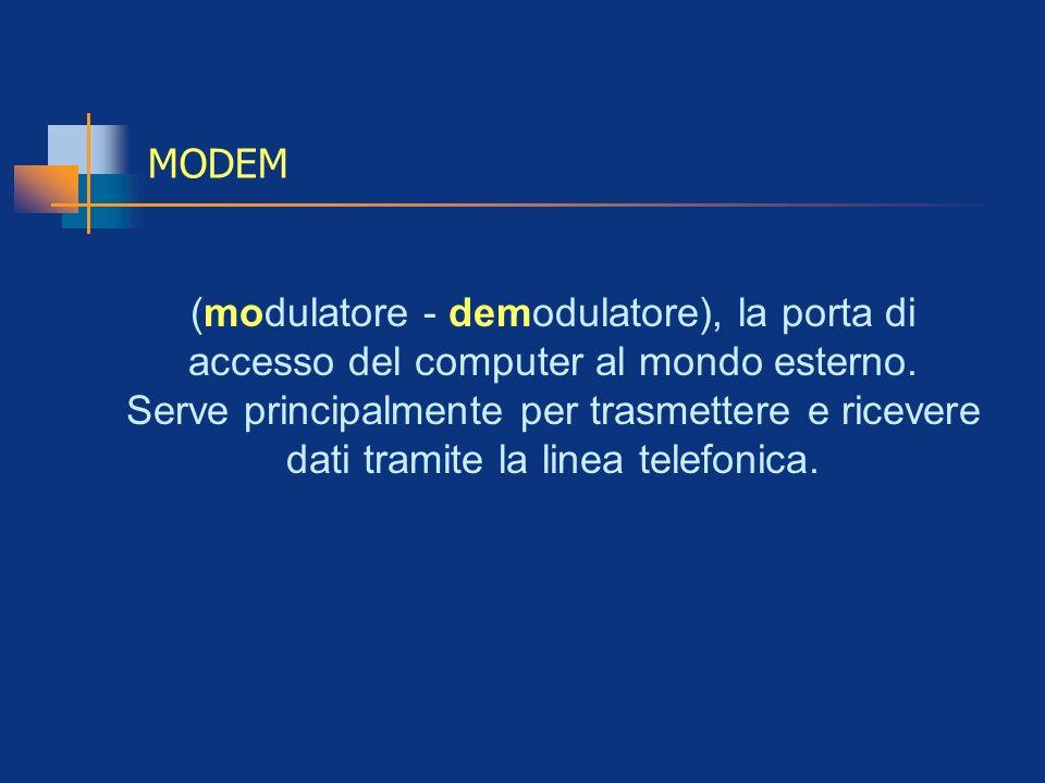MODEM (modulatore - demodulatore), la porta di accesso del computer al mondo esterno. Serve principalmente per trasmettere e ricevere dati tramite la