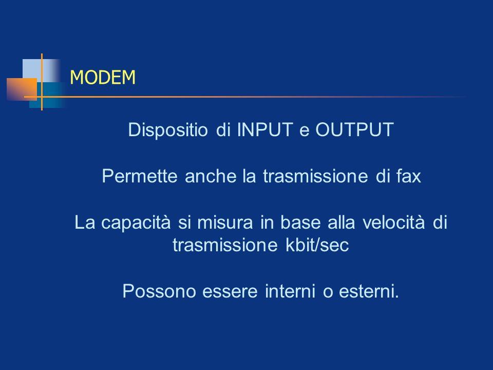 MODEM Dispositio di INPUT e OUTPUT Permette anche la trasmissione di fax La capacità si misura in base alla velocità di trasmissione kbit/sec Possono
