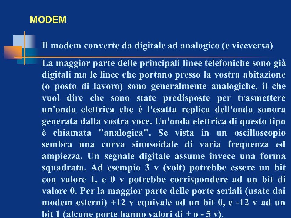 MODEM Il modem converte da digitale ad analogico (e viceversa) La maggior parte delle principali linee telefoniche sono già digitali ma le linee che p