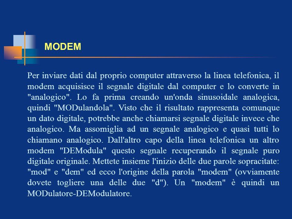 MODEM Per inviare dati dal proprio computer attraverso la linea telefonica, il modem acquisisce il segnale digitale dal computer e lo converte in