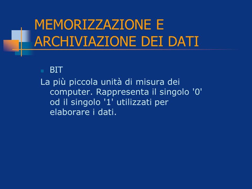 MEMORIZZAZIONE E ARCHIVIAZIONE DEI DATI BIT La più piccola unità di misura dei computer. Rappresenta il singolo '0' od il singolo '1' utilizzati per e