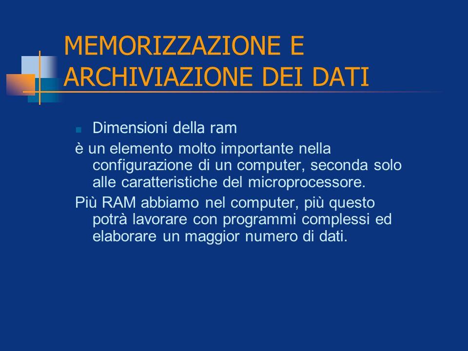 MEMORIZZAZIONE E ARCHIVIAZIONE DEI DATI Dimensioni della ram è un elemento molto importante nella configurazione di un computer, seconda solo alle car