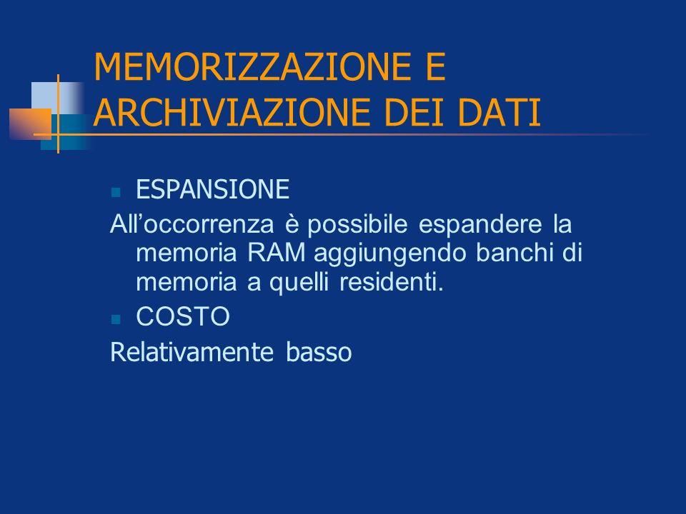 MEMORIZZAZIONE E ARCHIVIAZIONE DEI DATI ESPANSIONE Alloccorrenza è possibile espandere la memoria RAM aggiungendo banchi di memoria a quelli residenti