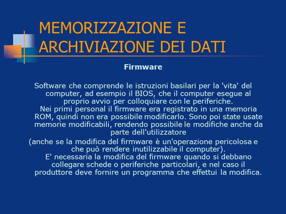MEMORIZZAZIONE E ARCHIVIAZIONE DEI DATI Firmware Software che comprende le istruzioni basilari per la 'vita' del computer, ad esempio il BIOS, che il